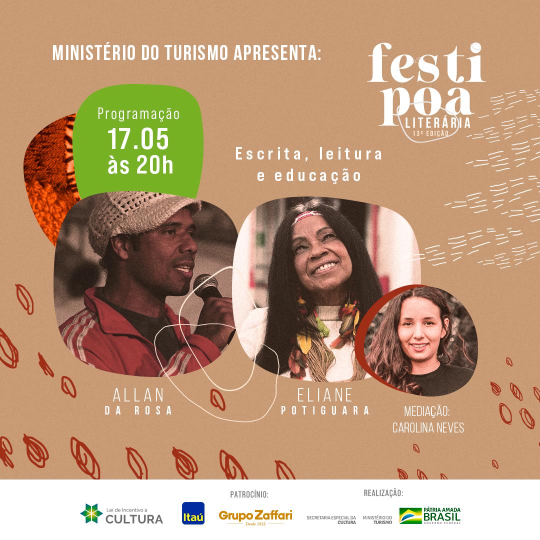 FestiPoa 2021: 'Escrita, leitura e educação', com Allan da Rosa e Eliane Potiguara e Carolina Neves