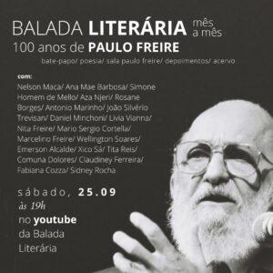 Balada Literária Mês a Mês celebra o centenário de Paulo Freire