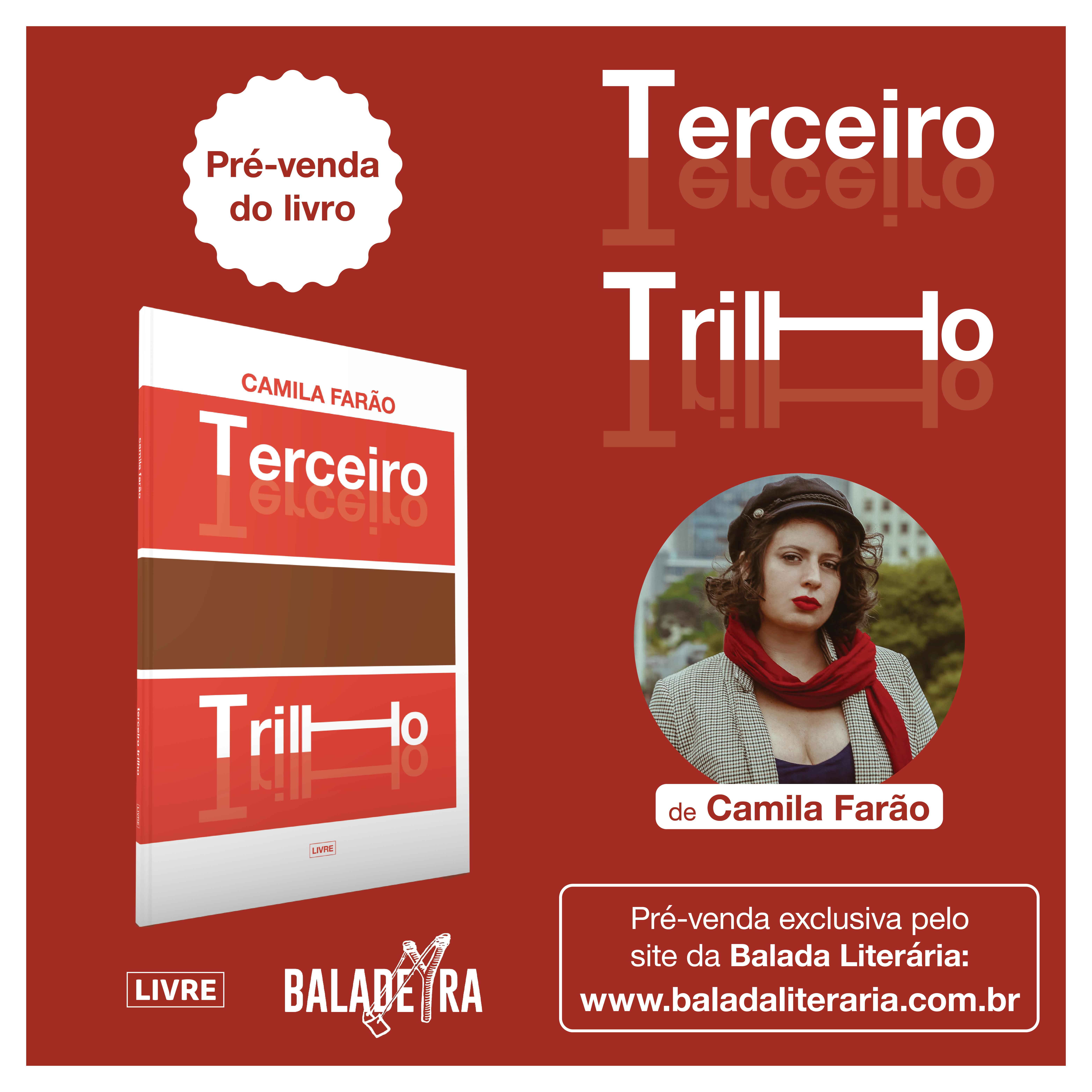 Pré-venda do livro 'terceiro trilho', de Camila Farão